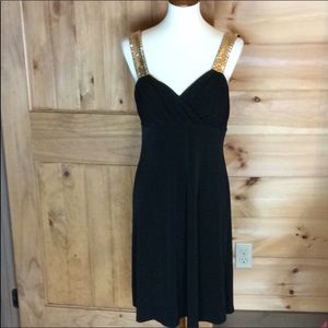 Spense black dress with shiny gold straps Size 8